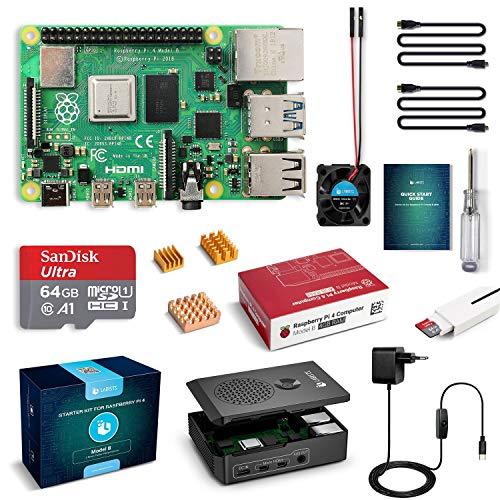 LABISTS Raspberry Pi 4 Model B 4 GB Ultimatives Kit mit 64GB Class10 Micro SD-Karte, 5,1V 3,0A USB-C EIN/Aus-Schaltnetzteil, 3 Premium Kupfer Kühlkörper, Micro HDMI-Kabel, Premium Schwarzes Gehäuse
