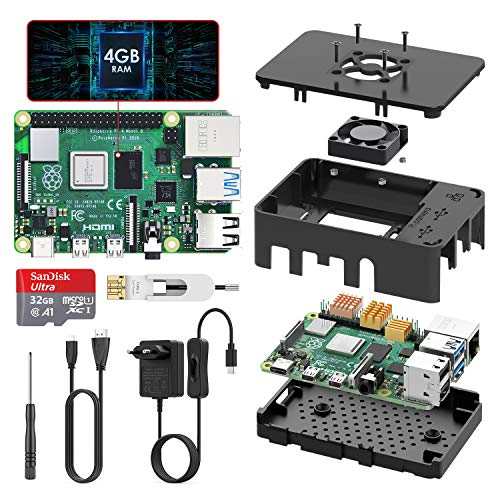 TICTID Raspberry Pi 4 Modell B 4GB Kit mit 32GB Class10 Micro SD-Karte, Upgraded Raspberry Pi 3/originaler Raspberry Pi 4 mit Quad-Core ARM-Cortex-A72 unterstützt Dual Display 4K/1000Mbps/BT 5.0