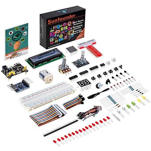 SUNFOUNDER Raspberry Pi Starter Kit Project for RPi 4B 3B+ 3B 2B B+ A+ Zero Including GPIO Breakout Board Breadboard LCD DC Motor LED RGB Dot Matrix (mit Deutscher Anleitung) (MEHRWEG)