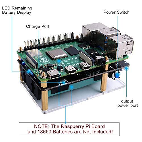 GeeekPi Raspberry Pi 4B/3B/3B + UPS Stromversorgung 2PCS UPS 18650 Batterieladegerät Power Bank mit LED-Anzeige((25% pro Schritt),Ausgangsüberstromschutz für RPi 4B/3B/3B + (Batterie Nicht enthalten)