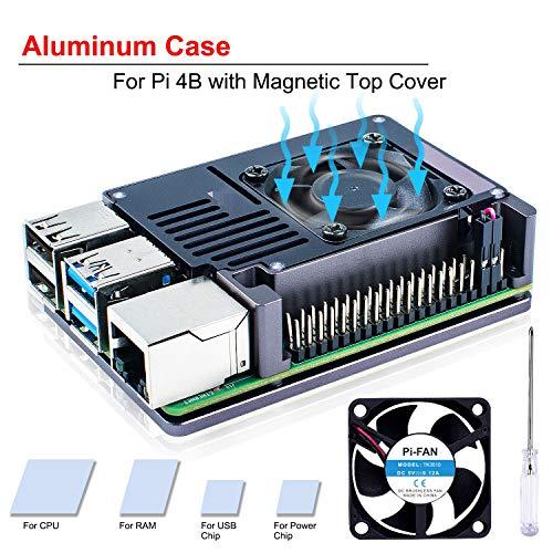 Bruphny Raspberry Pi 4 Gehäuse, Pi 4 Gehäuse Aluminium mit 35mm lüfter, Kompatibel mit Raspberry Pi 4 Modell B – Raum Grau und Braun (nur für 4B)