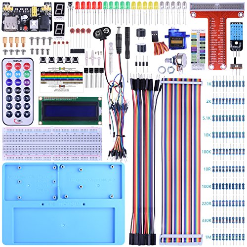 BONROB Raspberry Pi Starter Learning Kit with GPIO Expansion Board LCD RGB, Breadboard Infrared Remote Control for Raspberry Pi 4 3B+ 3B 2B A+ Zero BS002